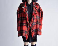 vintage plaid wool fringe trim coat / s by persephonevintage on Etsy
