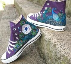 i totally had this idea all on my own like 3 days ago. only difference is i said light blue shoes for something blue.-------- Peacock painted on purple Converse. I so want these! by valarie