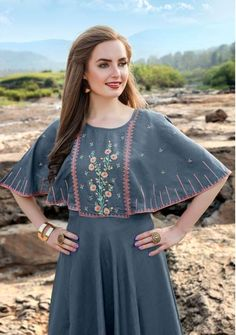 Joganiya Tradition Silk With Embroidery Work Long Party Wear Gown At Wholesale Rate Brand Ethnic Export, Kurtis Full Set Catalog Joganiya Tradition Pcs 5 AVG. Stylish Dresses For Girls, Frocks For Girls, Stylish Dress Designs, Tunic Designs, Kurta Designs Women, Indian Fashion Dresses, Indian Designer Outfits, Baby Girl Dress Patterns, Baby Dress