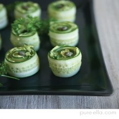 Cucumber Rolls with creamy avocado,Directions:It's a good idea to grab more cucumbers than you need for this recipe as some pieces could break and you only use the middle part not the thin sides that will be cut. You don't want to run out. Wash and dry the cucumbers. Use a mandolin to cut thin slices all the way through. Keep slicing the sides until you reach the full centre. Be careful that they don't break. (the thin pieces could be saved for a salad or eaten up or composted).  In a…
