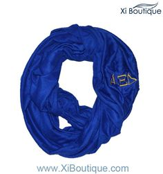 Alpha Xi Delta Blue Embroidered Infinity Scarf! The perfect lightweight spring accessory
