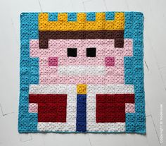 King crochet pixel plaid by HOOKLOOK