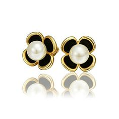 AmDxD Jewelry Gold Plated Womens Earrings Clover White Pearl ** More info could be found at the image url.