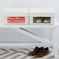 Canvas Shoe Box #westelm -- admittedly, I don't think the transparent patch is best for our purposes. just posting in case