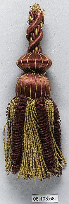Tassel  Date:     19th century Culture:     French Medium:     Silk and cotton Dimensions:     L. 6 1/2 inches 16.5 cm Classification:     Textiles-Trimmings Credit Line:     Rogers Fund, 1908
