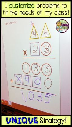 This is the best, simplest strategy for teaching students multi-digit multiplication. The visual organizer guides students through the process - great for grade, grade, and special education students! Math Strategies, Math Resources, Math Activities, Multiplication Strategies, Long Division Strategies, Multi Digit Multiplication, Teaching Multiplication, Teaching Math, Math Fractions