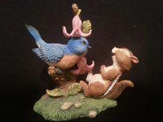 Chatty Critter Bluebird Chipmunk Backyard Buddies Collection Figurine #BLUEBIRD #CHIPMUNK #LUCKIESLEA