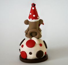 Smash Cake Sock Monkey Birthday Cake Topper w Number by SpiritMama, $35.00
