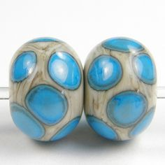Fossil Handmade Lampwork Glass Beads with Dark Sky Blue Dot - Click Image to Close