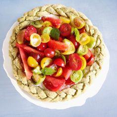 Crostata al basilico {robiola e pomodori freschi }. Da fare!!