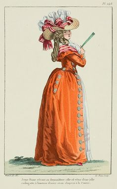 Bright orange redingote with brass buttons. Galerie des Modes, Cahier, Figure A Most Beguiling Accomplishment: September 2013 18th Century Dress, 18th Century Clothing, 18th Century Fashion, Historical Costume, Historical Clothing, Rococo Fashion, Vintage Fashion, Costume Français, Costume Rouge