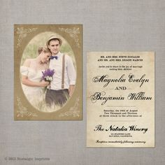 The Magnolia - 5x7 Vintage Wedding Invitation resembles portrait photo cards from the 1940s and is sure to make a wonderful impression on your guests.