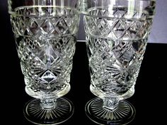 4 Peanut Butter Glasses Hazel Atlas Goblets Big Top Footed Tumbler Diamond Gothic by BlueMoonAttic