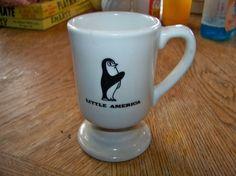 Vintage Ceramic Pottery Pedestal Mug with Penguin -Restaurant Ware- Little America