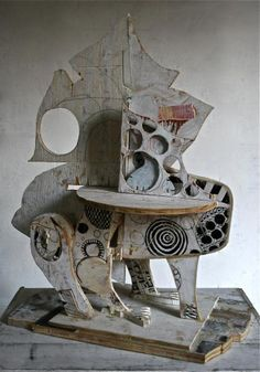 Mikhail Gubin Cardboard assemblage great example of transforming an ordinary object- cut outs, color, layers, pattern Cardboard Sculpture, Cardboard Art, Wood Sculpture, Sculpture Ideas, Metal Art, Wood Art, Collage, Art Brut, Assemblage Art