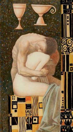 Golden Klimt tarot - 2 Cups