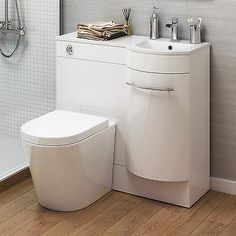 White Bathroom Vanity Units with Basin & Toilet - Right or Left Hand Options Tiny Wet Room, Small Toilet Room, Small Bathroom With Shower, Tiny Bathrooms, Upstairs Bathrooms, Budget Bathroom Remodel, Shower Remodel, Cupboards For Sale, Downstairs Toilet