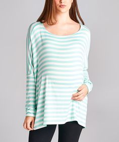 Look at this #zulilyfind! Mint Stripe Drop-Sleeve Maternity Tunic #zulilyfinds