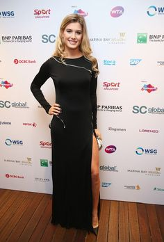 Eugenie Bouchard Photos: BNP Paribas WTA Finals: Singapore 2014 - Day Six. Eugenie Bouchard of Canada poses for a photograph at the WTA Year End Gala Party at the Marina Bay Sands Hotel during the BNP Paribas WTA Finals at Singapore Sports Hub on October 25, 2014 in Singapore.