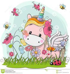 Cute Cartoon Unicorn on a meadow. Cute Cartoon Kitt Unicorn on a meadow with flowers and butterflies stock illustration Cartoon Monkey, Cartoon Unicorn, Unicorn Art, Girl Cartoon, Cute Cartoon, Rainbow Unicorn, Cartoon Mignon, Unicorn Wallpaper Cute, Unicornios Wallpaper