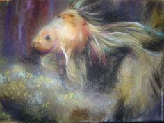 Купить Шерстяная живопись .Золотая рыбка. - картина из шерсти, теплые картины, живопись шерстью