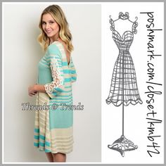 Refreshing Tunic Dress Refreshing colors of mint and cream tunic. Featuring stripes, crochet lace detail sleeves, scoop back. Fully lined, made of rayon, poly & spandex. Size S, M, L long sleeve Threads & Trends Dresses
