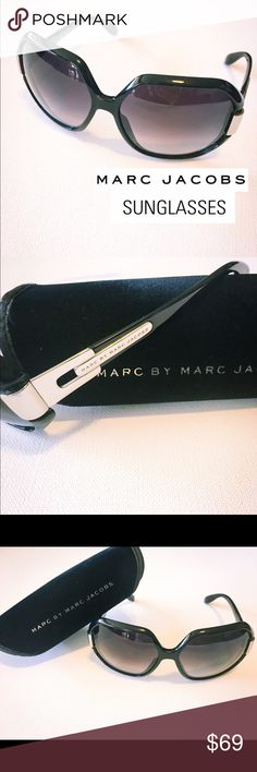 Marc Jacobs Sunglasses Beautifully designed larger frame with silver hinged sides. Silver in great shape with no scratches. Case included. Minor scratch on front lense, doesn't effect your vision/clear. Amazing pair of sunglasses!! Very stylish!! Marc Jacobs Accessories Sunglasses