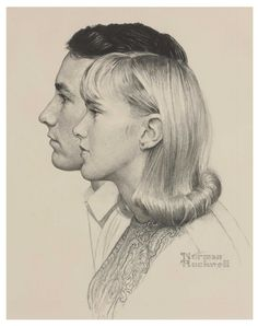 Norman Rockwell (1894-1978) Berkshire Community College Students, charcoal on paper, 19 x 14 5/8 in, 1967
