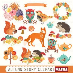 "Autumn clipart: ""AUTUMN STORY CLIPART"" with fox clipart, squirrel clipart, hedgehog clipart, owl clipart, 19 images, 300 dpi. png files"