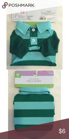 Dog pet costume green striped polo shirt XS Fits more extra small breeds including: chihuahuas, Maltese's, papillon's, Pomeranians, Yorkshire terrier. Up to 10lb. Length 8in (20.3cm). girth 11 - 15in (27.9-38.1cm). Neck 6-9in (15.2-22.8cm) Other