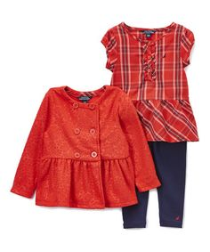 Look what I found on #zulily! Red Plaid Jacket Set - Infant #zulilyfinds