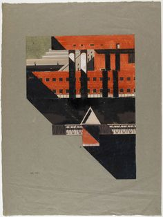 """Aldo Rossi, Nero, Bianco, Rosso, 1972  """"The use of dramatic shadows in Rossi's drawings was not for the purpose of articulating profiles, but rather to juxtapose the explicitly abstract/atemporal types with a sign for temporality/history""""  Peter Carl, Type, Field, Culture, Praxis Aldo Rossi, City Drawing, Collage Drawing, Drawing Sketches, Sketching, Architectural Drawings, Architectural Models, Architectural Presentation, Paper Architecture"""