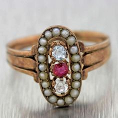 1900s Victorian 14k Solid Rose Gold Aquamarine Diamond Ruby Seed Pearl Ring #Handmade #Cocktail
