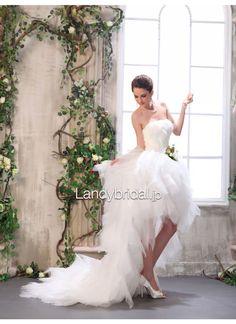 二次会ドレス ビスチェ アシンメトリー アイボリー ブラッシュトレーン ウェディングドレス B12067