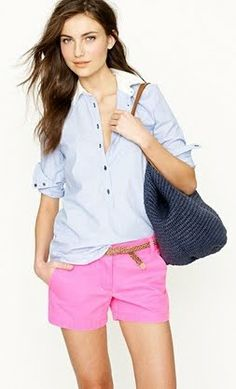 Outfit Posts: outfit post: pink shorts, blue striped buttondown, flipflops
