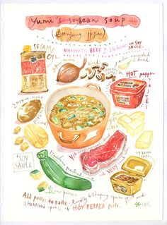 Would you like to have your favorite recipe, or your own family's famous recipe on your kitchen wall ? Or isn't it the perfect gift for any food lover. This listing includes an original watercolor pai Watercolor Food, Watercolor Paintings, Watercolour, Recipe Drawing, Pinterest Instagram, Food Sketch, Illustration Noel, Marinated Beef, How To Cook Asparagus