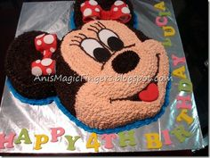 Anis Magic Fingers: Buttercream Minnie Mouse cake for Lucia… Baby Girl Birthday Cake, Minnie Mouse Birthday Cakes, Mickey Mouse Cupcakes, Mickey Cakes, Monster Cupcakes, Mickey Birthday, Pastel Mickey, Disney Cupcakes, Cupcake Cakes
