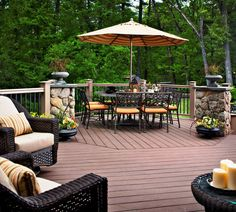 Cozy Seating with Deck Decorating Ideas: Pictures Of Screened In Porches With Deck Decorating Ideas And Deck Railaiangs Also Patio Umbrella With Wicker Outdoor Furniture And Wrought Iron Outdoor Furniture Plus Deck Railings