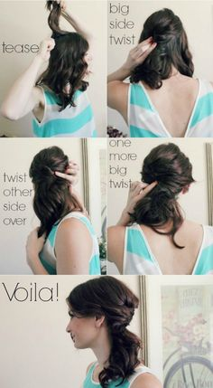 4 Step Messy Side Pony