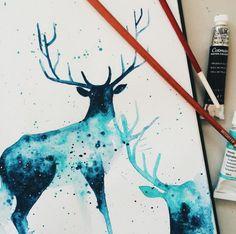 Imagem de art, deer, and blue