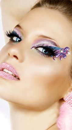 The cotton candy eye kit includes silver, blue and purple glitter eyes with jewel details, lower eye stickers, glitter goo, false eyelashes and lash glue. Cotton Candy Eye Kit, Purple and Blue Glitter Eyes, Costume Make Up Eye Stickers #costumeaccessories #plussizecostumeaccessories #falseeyelashes
