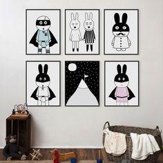 Modern Minimalist Nordic Black White Kawaii Animals A4 Large Art Prints Poster…