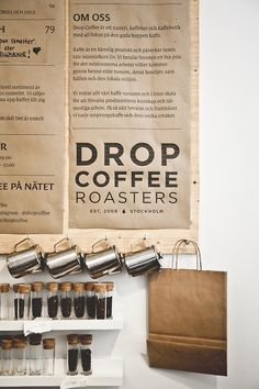 Coffee Bar & Roastery - Drop Coffee Roasters in Stockholm, Sweden. We do coffee best, after the Finns. Restaurant Bar, Restaurant Design, Café Bar, Design Café, Menu Design, My Coffee, Coffee Cups, Coffee Beans, Drip Coffee