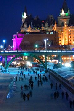 Is there anything more classically Canadian than outdoor skating in winter? Great Places To Travel, Wonderful Places, Cool Places To Visit, Amazing Places, Ontario Travel, Canadian Travel, Poland Travel, Outdoor Skating, Places Around The World