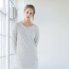 Simple and light  Midi long sleeve dress in Ivory Breton stripe. Made from ethical organic cotton here in New Zealand. Easy one stop dressing xx