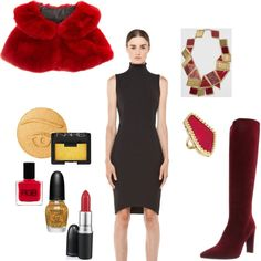 Love the pops of red and gold in this outfit for our Little Black Dress fashion challenge, styled by Ava on shopforfun.com