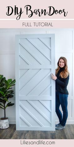 DIY Barn Door Tutorial - DIY Barn Door full, simple tutorial using plywood, maple wood pieces and liquid nails from Lowe's - Home Renovation, Diy Design, Interior Design, Modern Design, Porte Diy, Porte Design, Sliding Doors, Garage Doors, Sliding Wall
