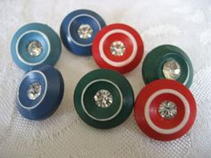 Set of 7 VINTAGE Rhinestone in Color Plastic BUTTONS by abandc