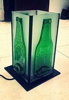 Lampara botellas fundidas