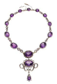 Victorian Amethyst, Diamond, Silver-Topped Gold Necklace, Netherlands The necklace features oval and cushion-shaped amethyst weighing a total of approximately 89.35 carats, enhanced by European-cut diamonds weighing a total of approximately 17.25 carats, set in silver-topped 14k gold